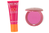 """""""I focus on packing dual-purpose products such as a cheek and lip stain to save on space. I also pop things that I think could open into a small zip-lock bag to avoid any accidental spills."""" ModelCo Daily Face Mattifying Sunscreen and Lip Balm SPF50+, $25, modelco.com.au, Stila Convertible Cheek + Lip Color, $34, mecca.com.au."""