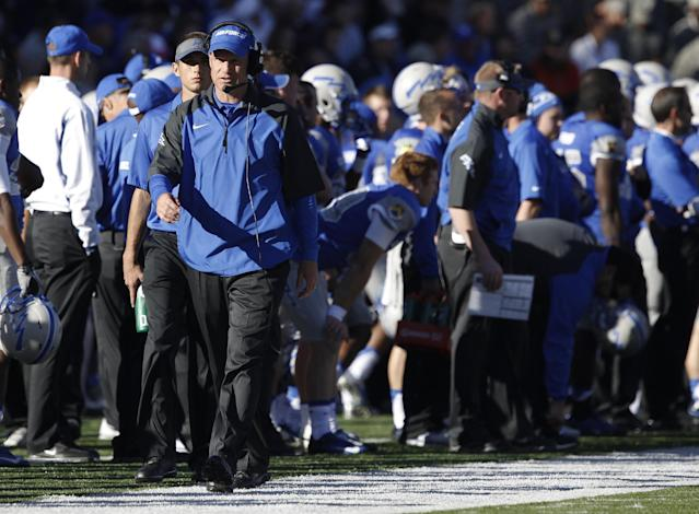 Air Force head coach Troy Calhoun paces the sideline while guiding his team against Notre Dame in the first quarter of an NCAA college football game in Air Force Academy, Colo., Saturday, Oct. 26, 2013. (AP Photo/David Zalubowski)