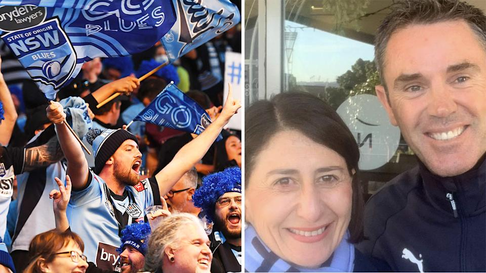 There was some outrage from fans after NSW Premier Gladys Berejiklian posted a picture of herself with Blues coach Brad Fittler on Twitter.