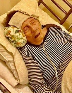 Marjorie Waggoner's condition just three weeks after Chrismtas 2019. Stricken with a persistent fever, she died Jan. 22.