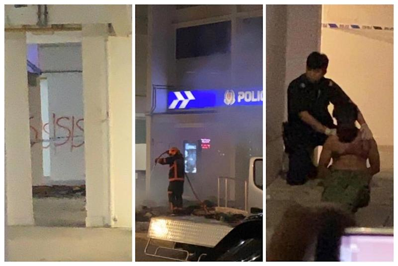 Man seen detained near Kallang Neighbour Police Post on 13 March 2020 (Photos courtesy of Jerome Simon)