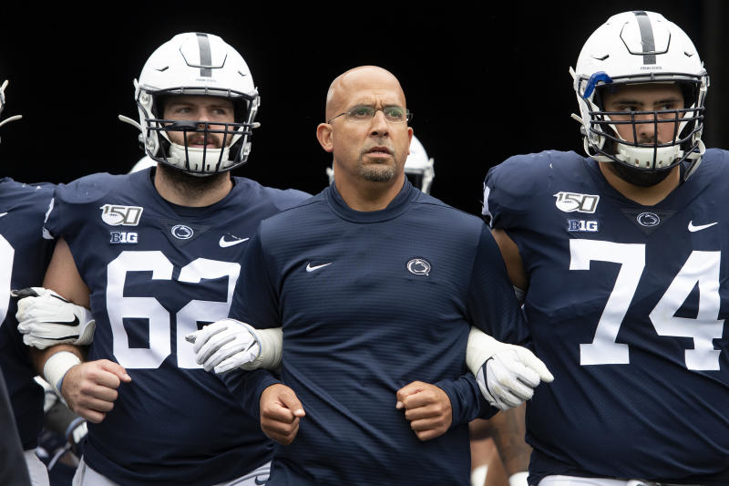 Penn State head coach James Franklin leads his team onto the field for an NCAA college football game against Pittsburgh in State College, Pa., on Saturday, Sept. 14, 2019. (AP Photo/Barry Reeger)