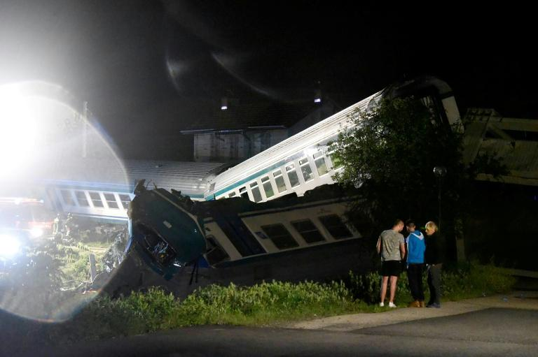 A train plowed into a truck that had stopped on the tracks in Caluso, outside Turin on May 24, 2018