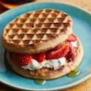 <p>Here's a sweet spin on a healthy breakfast-sandwich recipe. Other seasonal fruit, such as blueberries or sliced peaches, would be tasty toppers too.</p>