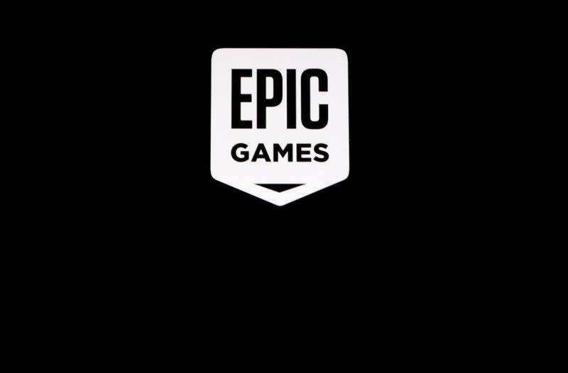 """The Epic Games logo, maker of the popular video game """"Fortnite"""", is pictured on a screen"""