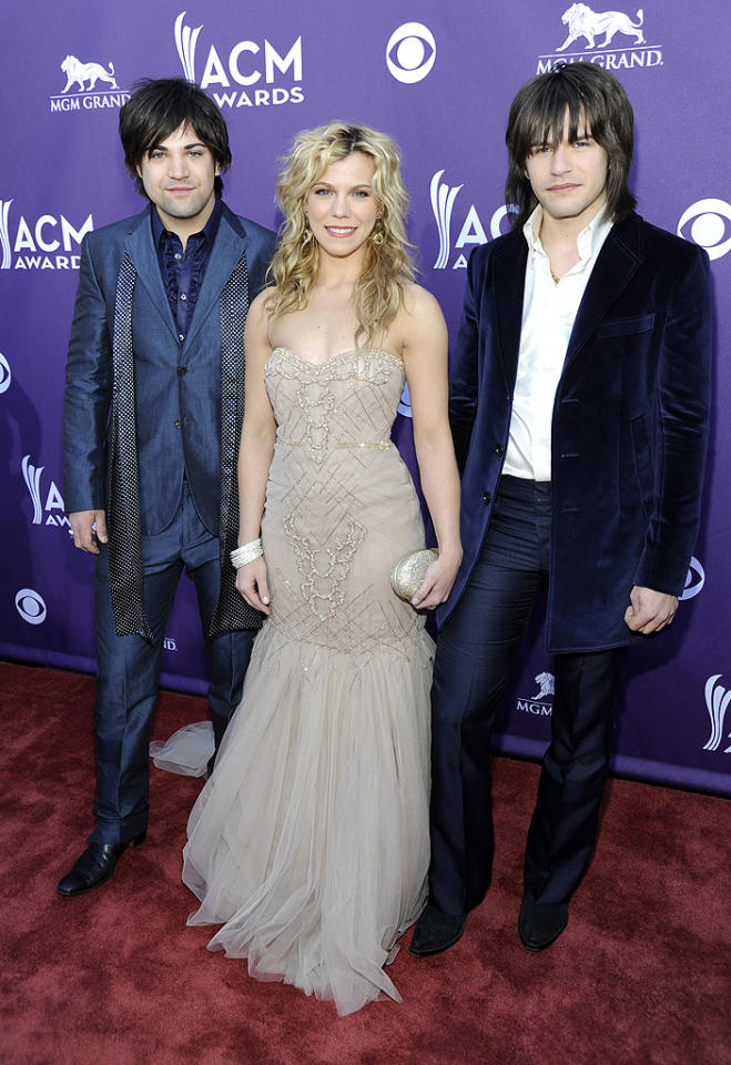 "<p class=""MsoNormal"">The Perry siblings from Mississippi – (L-R) Reid, Kimberly, and Neil Perry, otherwise known as The Band Perry – arrived ready to compete for Vocal Group of Year. </p>"