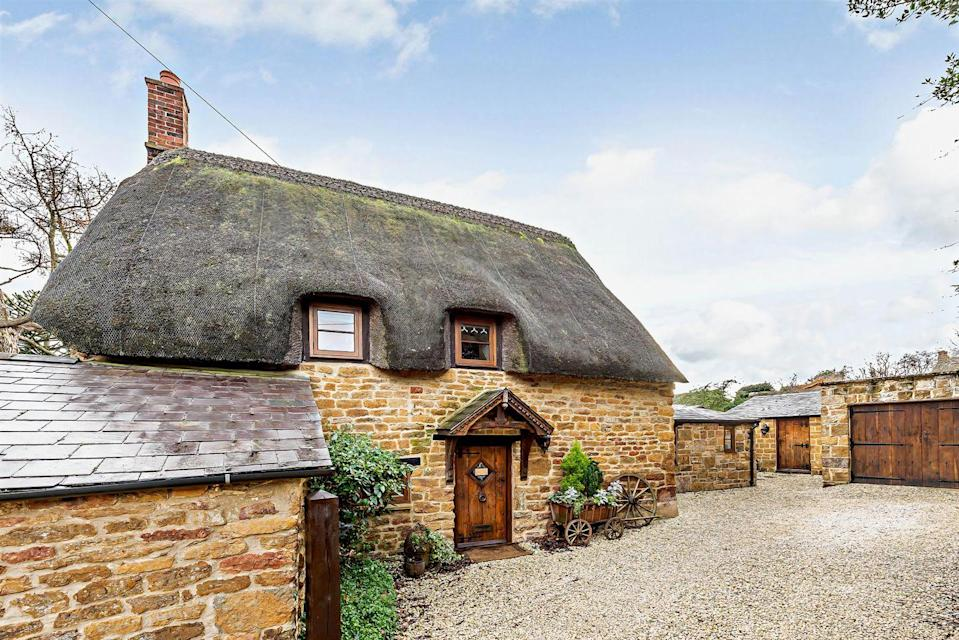 """<p>This charming Grade II Listed thatched cottage is what dreams are made of. Step inside, and you'll find a vaulted dining room, inglenook fireplace, period style <a href=""""https://www.countryliving.com/uk/homes-interiors/interiors/a35332146/bathroom-trends/"""" rel=""""nofollow noopener"""" target=""""_blank"""" data-ylk=""""slk:bathroom"""" class=""""link rapid-noclick-resp"""">bathroom</a> (we love the free-standing bath here), and underfloor heating. Why not take a peek around...</p><p><a href=""""https://www.zoopla.co.uk/for-sale/details/57482340"""" rel=""""nofollow noopener"""" target=""""_blank"""" data-ylk=""""slk:This property is currently on the market for £440,000 with Fine & Country via Zoopla."""" class=""""link rapid-noclick-resp"""">This property is currently on the market for £440,000 with Fine & Country via Zoopla.</a><br></p>"""