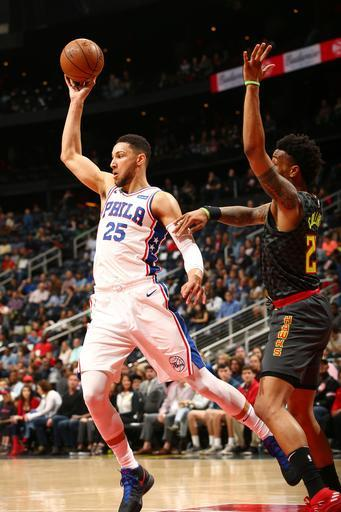 ATLANTA, GA - APRIL 10: Ben Simmons #25 of the Philadelphia 76ers passes the ball during the game against the Atlanta Hawks on April 10, 2018 at Philips Arena in Atlanta, Georgia. (Photo by Kevin Liles/NBAE via Getty Images)