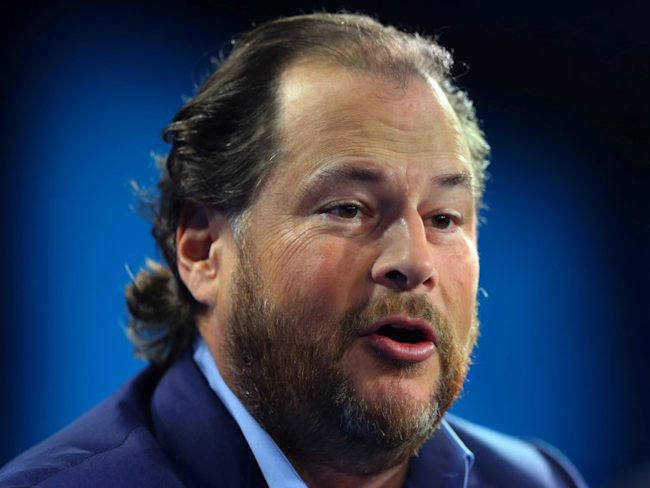 Marc Benioff, chairman and CEO of Salesforce, speaks at the WSJD Live conference in Laguna Beach, California, U.S., October 26, 2016.</p> <p> REUTERS/Mike Blake