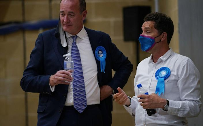 Conservative candidate Peter Fleet (left), who was defeated by Sarah Green of the Liberal Democrats - Yui Mok/PA