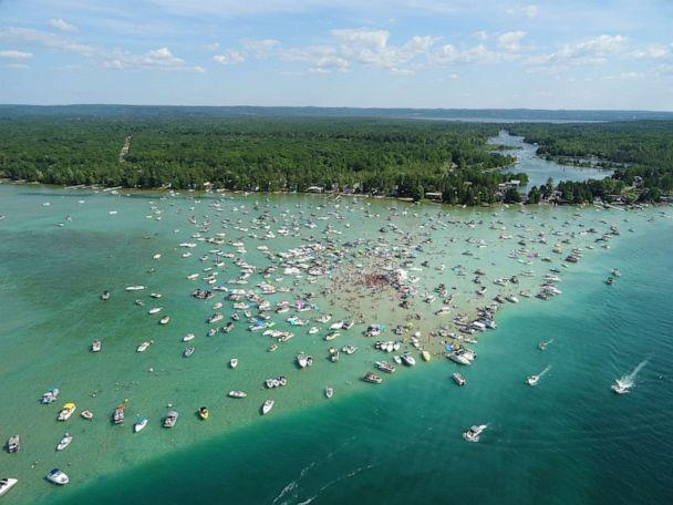 PHOTO: Several people tested positive for COVID-19 after attending Torch Fest at the Torch Lake sandbar near Rapid City, Mich., on July 4, 2020. (Michigan State Police)