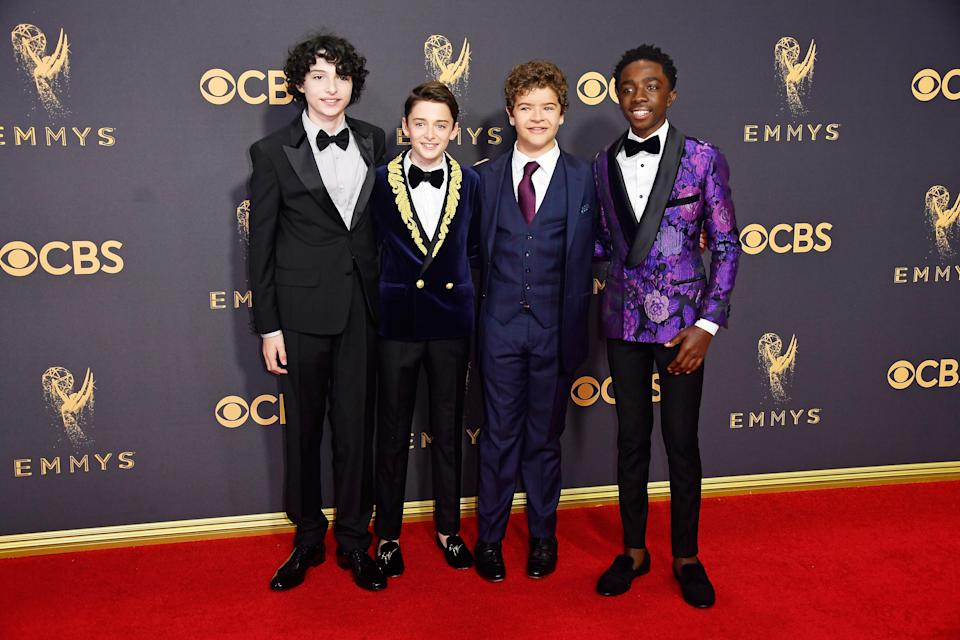<p>Actors Finn Wolfhard, Noah Schnapp, Gaten Matarazzo, and Caleb McLaughlin attend the 69th Primetime Emmy Awards on Sept. 17, 2017.<br> (Photo: Getty Images) </p>