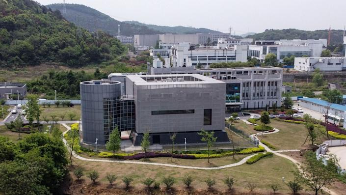 The Wuhan Institute of Virology. <p class=copyright><a href=https://www.gettyimages.com/detail/news-photo/an-aerial-view-shows-the-p4-laboratory-at-the-wuhan-news-photo/1210149337?adppopup=true rel=nofollow noopener target=_blank data-ylk=slk:Hector Retamal/AFP via Getty class=link rapid-noclick-resp>Hector Retamal/AFP via Getty</a></p>