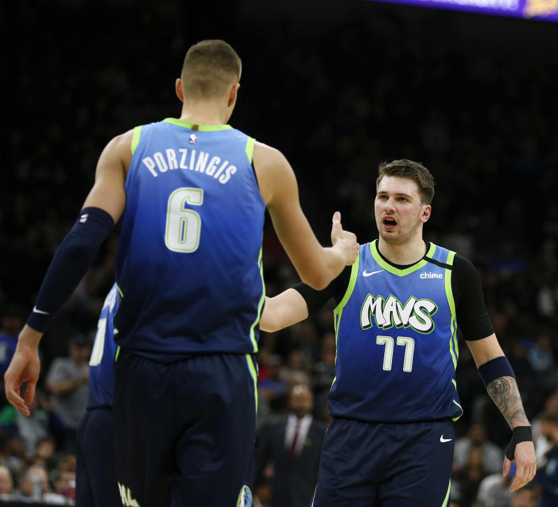 The ceiling for Kristaps Porzingis and Luka Doncic could soon approach championship level. (Ronald Cortes/Getty Images)