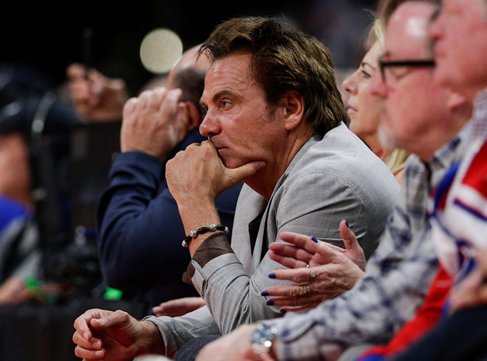 Pistons owner Tom Gores watches action during the second half of Game 4 of the playoff series against Bucks at Little Caesars Arena in Detroit, Monday, April 22, 2019.