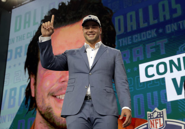 He's smiling here, but Connor Williams couldn't hold back the tears after being drafted by the Dallas Cowboys. (AP)