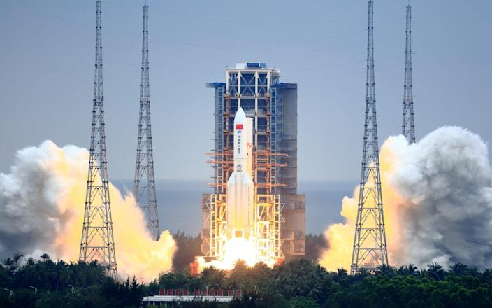 Long March-5B Y2 rocket carrying the core module of China's space station, Tianhe - Visual China Group