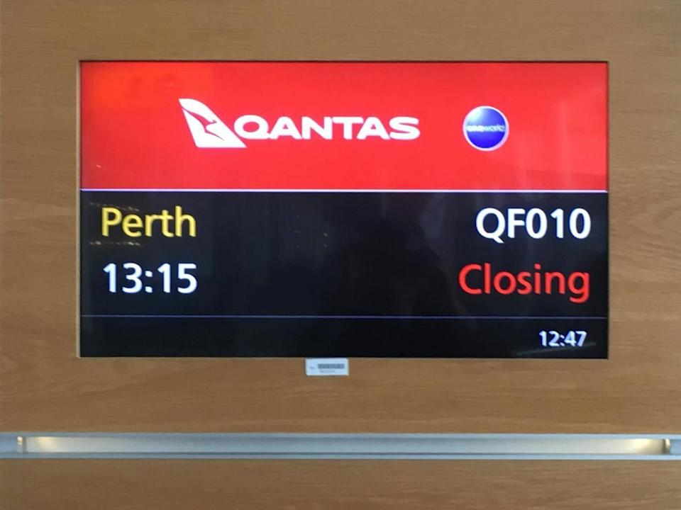 Departure screen at Heathrow for first nonstop flight to Perth