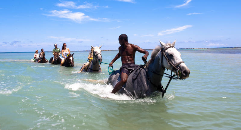 Pictured is a beach horse riding charter leading a group through the ocean in the Caribbean country of Jamaica.