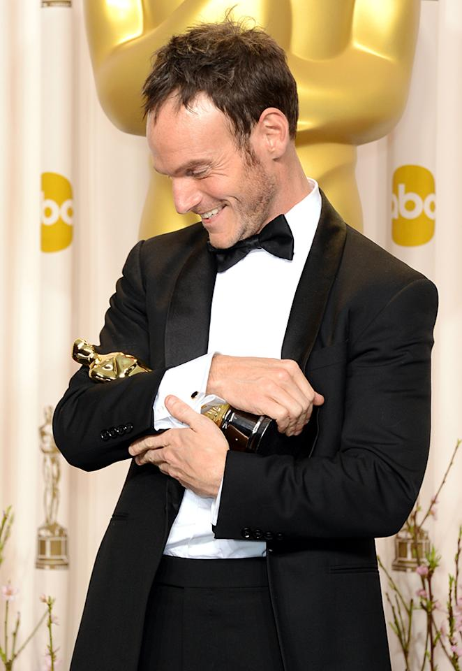 "Screenwriter Chris Terrio, winner of the Best Adapted Screenplay award for ""Argo,"" poses in the press room during the Oscars held at Loews Hollywood Hotel on February 24, 2013 in Hollywood, California."