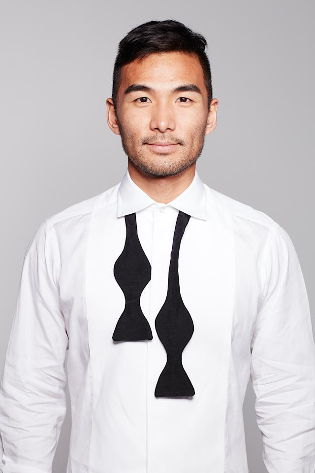 <p>Place the tie around your neck under your shirt collar, making sure that one end is longer than the other by a few inches. </p>
