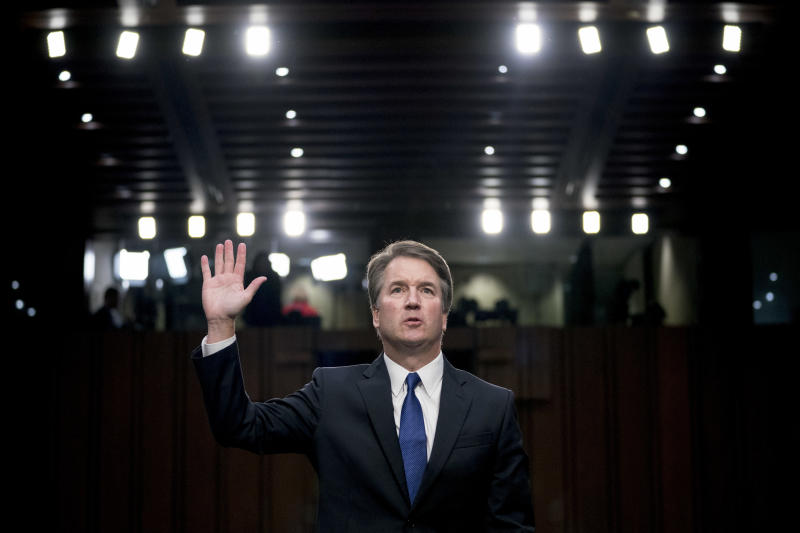 FILE - In this Sept. 4, 2018, file photo, Supreme Court nominee Brett Kavanaugh is sworn-in before the Senate Judiciary Committee on Capitol Hill in Washington. (AP Photo/Andrew Harnik, file)