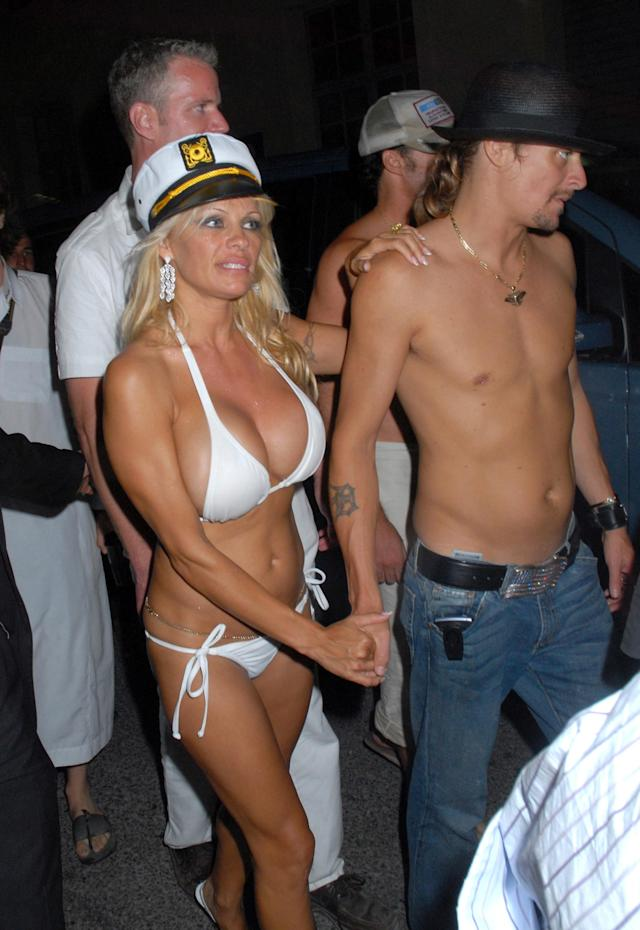 Pamela Anderson and Kid Rock at the VIP Room in Saint Tropez, France. (Photo by Foc Kan/WireImage)