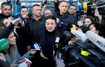 FILE PHOTO: Ukrainian presidential candidate and comedian Volodymyr Zelenskiy speaks with journalists after undergoing a drugs and alcohol test in Kiev