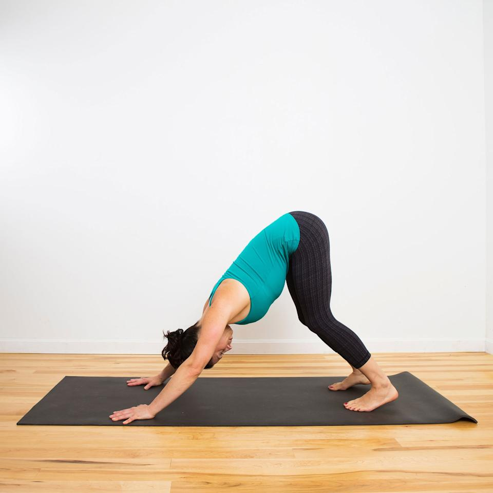 <ul> <li>From Cat Cow, lift your knees off the mat, coming into Down Dog, with a slight bend in the knees.</li> <li>Stay like this for five breaths. </li> </ul>