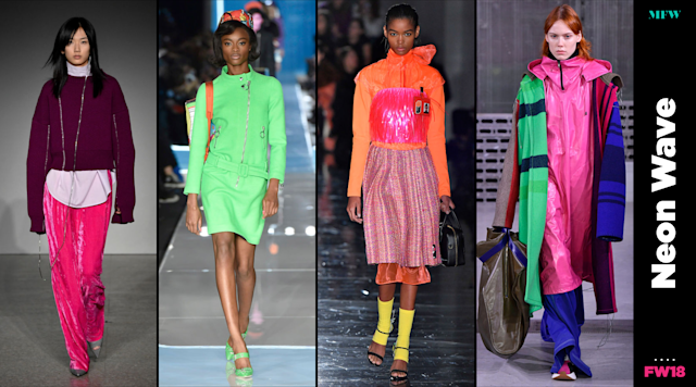 Neon colors abound at Milan Fashion Week. (Photo: Getty; Art: Quinn Lemmers)