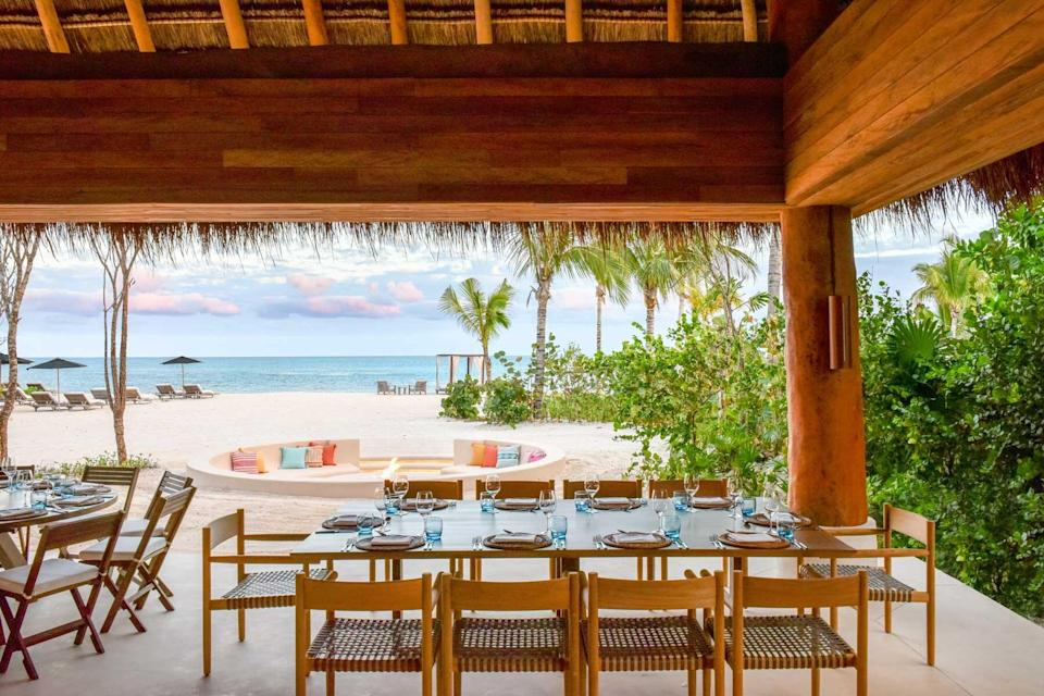 Dining area at the Rosewood Mayakoba, voted one of the best hotels in the world