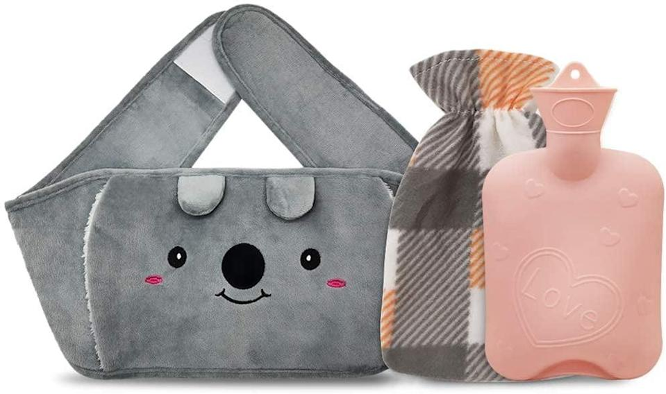 <p>When you have cramps but also have errands to get done around the house, having a portable heat therapy tool will seriously come in handy. The <span>Portable Hot Water Bottle, Rubber Warm Water Bag With Soft Plush Waist Cover</span> ($14) has a hook-and-loop closure around the waist for hands-free relief. This set from Amazon comes with a regular hot water bottle bag too.</p>