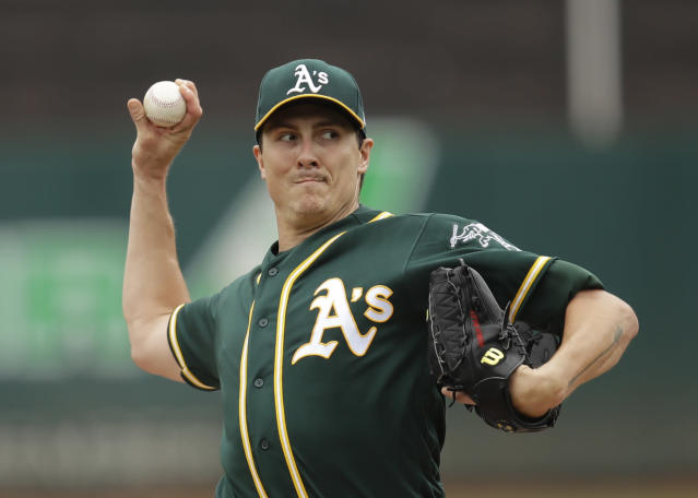 Oakland Athletics pitcher Homer Bailey works against the Milwaukee Brewers in the first inning of a baseball game Thursday, Aug. 1, 2019, in Oakland, Calif. (AP Photo/Ben Margot)