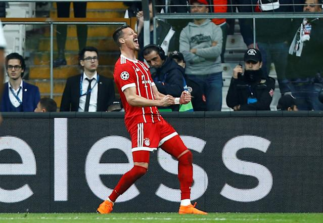 Soccer Football - Champions League Round of 16 Second Leg - Besiktas vs Bayern Munich - Vodafone Arena, Istanbul, Turkey - March 14, 2018 Bayern Munich's Sandro Wagner celebrates scoring their third goal REUTERS/Osman Orsal