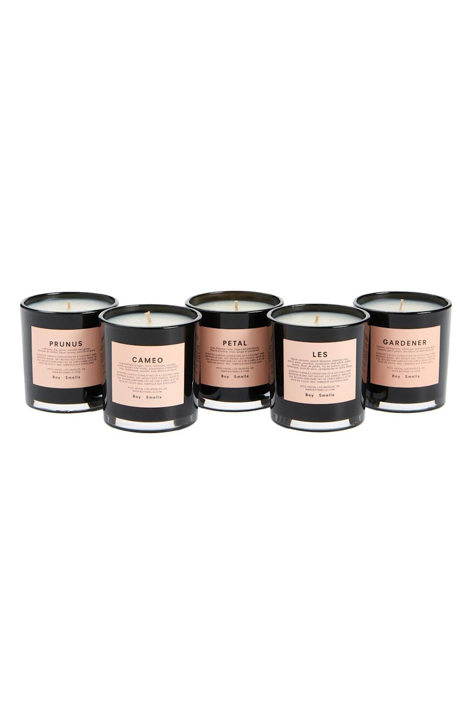 """<h2>Boy Smells Late Bloomer Votive Candle Set</h2><br><strong>SOLD OUT (FOR NOW)</strong><br>One of our Shopping team writer's top picks from the sale has sadly sold out (we had a hunch it would!) — but, if you're still looking to whet your trendy candle beak, don't fret: we've got a next-best-scented deal to <a href=""""https://www.nordstrom.com/brands/boy-smells--17787"""" rel=""""nofollow noopener"""" target=""""_blank"""" data-ylk=""""slk:Boy Smells"""" class=""""link rapid-noclick-resp"""">Boy Smells</a> for you on the next slide.<br><br><em>Shop more <a href=""""https://go.skimresources.com?id=30283X879131&xs=1&url=https%3A%2F%2Fwww.nordstrom.com%2Fbrowse%2Fanniversary-sale%2Fall%3Fcampaign%3D0728publicgnpt1%26jid%3Dj012165-15573%26cid%3D00000%26cm_sp%3Dmerch-_-anniversary_15573_j012165-_-catpromo_corp_persnav_shop%26%3D%26postalCodeAvailability%3D10543%26filterByProductType%3Dhome_candles-home-fragrance&sref=https%3A%2F%2Fwww.refinery29.com%2Fen-us%2Fnordstrom-anniversary-sale-best-sellers"""" rel=""""nofollow noopener"""" target=""""_blank"""" data-ylk=""""slk:Nordstrom Anniversary Sale candles"""" class=""""link rapid-noclick-resp"""">Nordstrom Anniversary Sale candles</a></em><br><br><strong>Boy Smells</strong> Late Bloomer Votive Candle Set, $, available at <a href=""""https://go.skimresources.com/?id=30283X879131&url=https%3A%2F%2Fwww.nordstrom.com%2Fs%2Fboy-smells-late-bloomer-votive-candle-set-80-value%2F5913321"""" rel=""""nofollow noopener"""" target=""""_blank"""" data-ylk=""""slk:Nordstrom"""" class=""""link rapid-noclick-resp"""">Nordstrom</a>"""