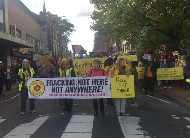 Protestors welcomed news that fracking won't continue at the Preston New Road site in Lancashire (Picture: PA)