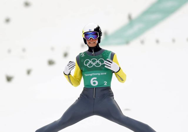 Nordic Combined Events - Pyeongchang 2018 Winter Olympics - Men's Team Gundersen LH Competition - Alpensia Ski Jumping Centre - Pyeongchang, South Korea - February 22, 2018 - Leevi Mutru of Finland reacts. REUTERS/Kai Pfaffenbach