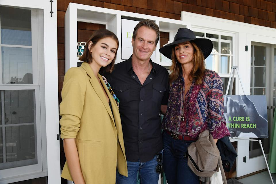 MALIBU, CALIFORNIA - OCTOBER 06: (L-R) Kaia Gerber, Rande Gerber and Cindy Crawford attend ROCK4EB! at Private Residence on October 06, 2019 in Malibu, California. (Photo by Kevin Mazur/Getty Images for EB)