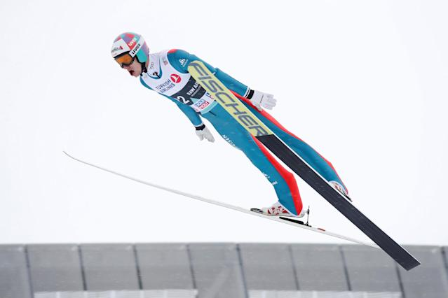 FIS Ski Jumping World Cup - Men's HS134 - Oslo, Norway - March 11, 2018. Gregor Deschwanden of Switzerland competes. NTB Scanpix/Terje Bendiksby via REUTERS ATTENTION EDITORS - THIS IMAGE WAS PROVIDED BY A THIRD PARTY. NORWAY OUT. NO COMMERCIAL OR EDITORIAL SALES IN NORWAY.