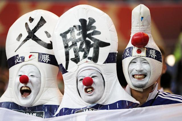 <p>Japan fans enjoy the pre match atmosphere prior to the 2018 FIFA World Cup Russia Round of 16 match between Belgium and Japan at Rostov Arena on July 2, 2018 in Rostov-on-Don, Russia. (Photo by Kevin C. Cox/Getty Images) </p>