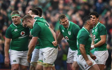 Rugby Union - Six Nations Championship - Ireland vs Wales - Aviva Stadium, Dublin, Republic of Ireland - February 24, 2018 Ireland's Jacob Stockdale celebrates with team mates after scoring their fifth try REUTERS/Clodagh Kilcoyne