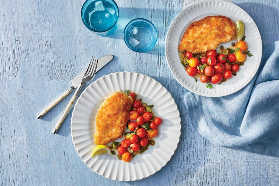 """<p><strong>Recipe: </strong><a href=""""https://www.southernliving.com/recipes/crispy-chicken-cutlets-blistered-tomatoes-recipe"""" rel=""""nofollow noopener"""" target=""""_blank"""" data-ylk=""""slk:Crispy Chicken Cutlets with Blistered Tomatoes"""" class=""""link rapid-noclick-resp""""><strong>Crispy Chicken Cutlets with Blistered Tomatoes</strong></a></p> <p>This summery recipe for chicken piccata calls for dry white wine that you can enjoy with dinner once it's ready.</p>"""