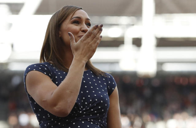 Athletics - World Athletics Championships – London Stadium, London, Britain - August 6, 2017. Jessica Ennis-Hill of Great Britain is presented a gold medal from the 2011 Daegu World Championships. REUTERS/Phil Noble