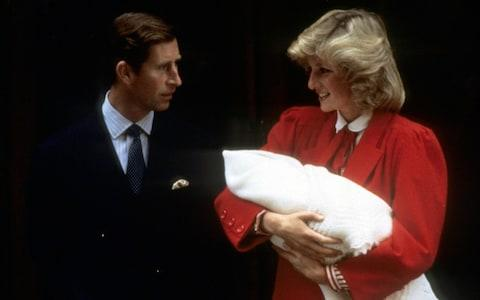 Diana, Princess of Wales and Prince Charles leave the Lindo Wing with Prince Harry in 1984 - Credit: Anwar Hussein/Getty Images)
