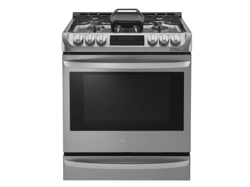 "LG 30"" 6.3 Cu. Ft. True Convection 5-Burner Slide-In Gas Range. Image via Best Buy."