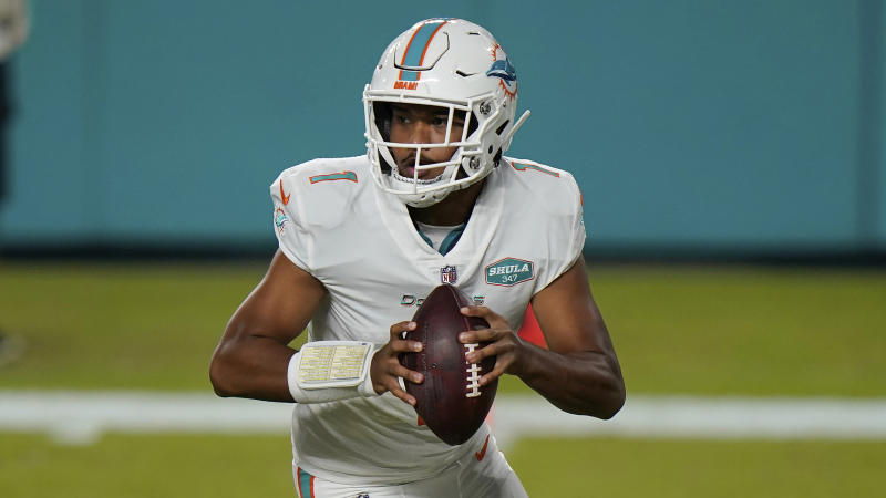 Miami Dolphins' quarterback Tua Tagoveloa (1) will make his first start this week after the team's buyout.  (AP Photo / Lynn Sladki)