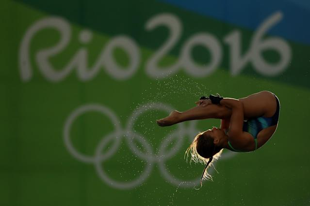 <p>Maria Kurjo of Germany competes during the Women's 10m Platform Diving preliminaries on Day 12 of the Rio 2016 Olympic Games at Maria Lenk Aquatics Centre on August 17, 2016 in Rio de Janeiro, Brazil. (Photo by Elsa/Getty Images) </p>