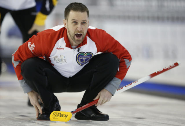 Team Newfoundland and Labrador skip Brad Gushue shouts instructions to teammates during their draw against Team New Brunswick at the Brier curling championships in Ottawa, Canada, March 8, 2016. REUTERS/Chris Wattie
