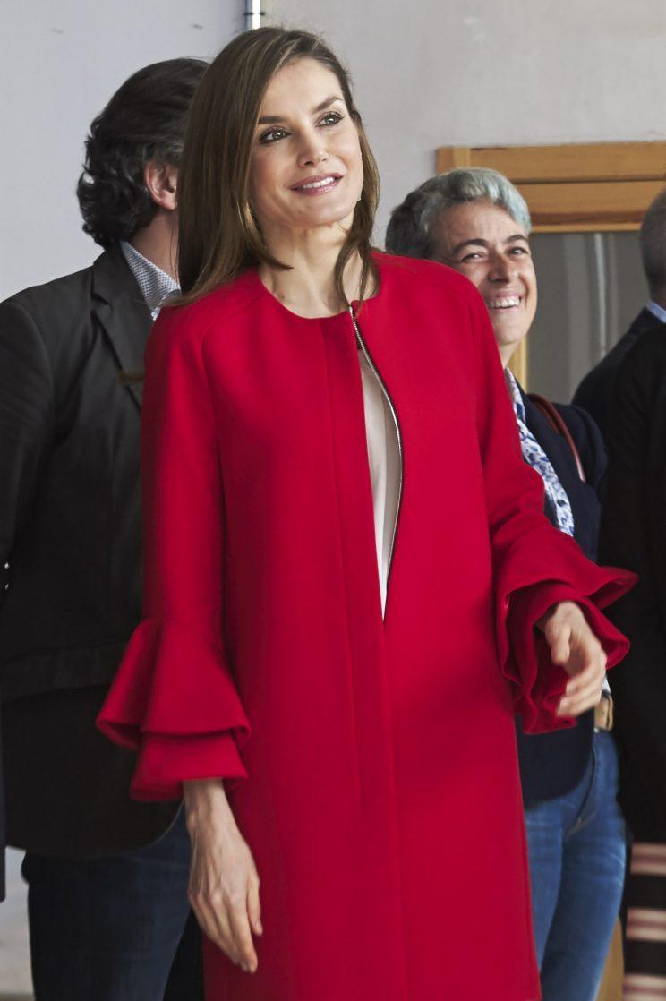 <i>Spain's Queen Letizia is loving red too [Photo: Getty]</i>