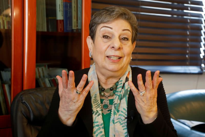 Palestinian politician Hanan Ashrawi gestures during an interview with Reuters, in Ramallah in the Israeli-occupied West Bank